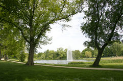 Urban Parc With Fountain Royalty Free Stock Photo