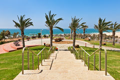 Urban park in Ashdod, Israel. Stone stairs in urban park with beautiful view on Mediterranean sea in Ashdod, Israel Stock Photo