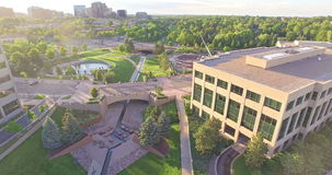 Urban park. Denver, Colorado, USA-June 14, 2015. Aerial view of urban park in business park stock video