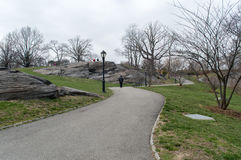 Urban park in early spring, middle of march, bare trees. New York Royalty Free Stock Photography