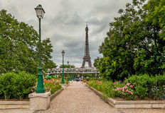 Urban park and Eiffel Tower in Paris, France. Stock Photo