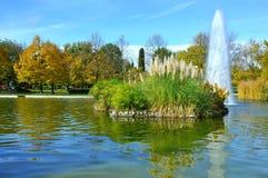 Urban park and fountain royalty free stock photo