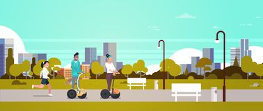 Urban park outdoors activities man woman riding gyroscooter running nature city buildings street lamps cityscape royalty free illustration