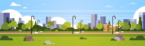 Urban park outdoors city buildings street lamps cityscape concept horizontal banner flat royalty free illustration
