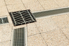 Urban park sewerage up view in day light Royalty Free Stock Photo