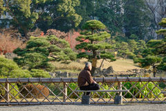 Urban park in Tokyo, Japan. A man sitting and relaxing at the Urban park in Tokyo, Japan Stock Photo