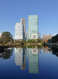 Urban park in Tokyo, Japan. Tall buildings with the lake in Tokyo, Japan Royalty Free Stock Photos