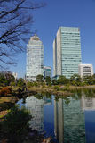 Urban park in Tokyo, Japan. View of tokyo cityscape with park in Tokyo, Japan Royalty Free Stock Photos