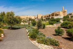 Urban park, Tower of David and citadel in Jerusalem. royalty free stock photos