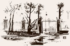 Urban park. Vector sketch of the fence of the Summer Garden in St. Petersburg, Russia vector illustration