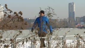 Urban passer. Winter. stock footage