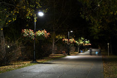 Urban pathway at night Royalty Free Stock Image