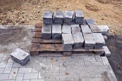 Urban pavement sidewalk repar work place Royalty Free Stock Images