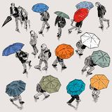 Urban pedestrians in the rainy weather Royalty Free Stock Photos