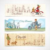 Urban people horizontal banners sketch colored Stock Photo