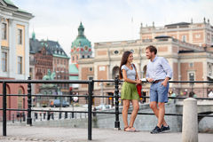 Urban people lifestyle - young couple in Stockholm Royalty Free Stock Photo