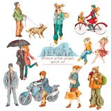 Urban people sketch colored Stock Photography