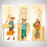 Urban people vertical banners sketch colored Stock Photography