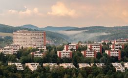 Residential buildings of inhabitans in the city Zlin, Czech Republic, Europe. Urban photography of typical residential buildings of inhabitans in the city Zlin stock photo