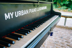 Urban piano in city park, Luxembourg Royalty Free Stock Image
