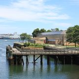Urban Pier. Part of Boston harbour, Massachusetts Bay royalty free stock photo