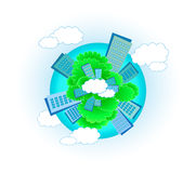 Urban planet. Cute urban planet with skyscraper, tree and cloud royalty free illustration