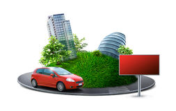 Urban planet. With road, car and sign royalty free stock photo