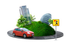 Urban planet. With road, car and crosswalk sign stock photography
