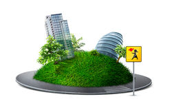 Urban planet. Urban green planet with road Royalty Free Stock Image