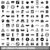 100 urban planning icons set, simple style. 100 urban planning icons set in simple style for any design vector illustration Stock Photo
