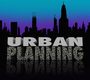 Urban Planning Night City Scape Skyline Words Stock Photography