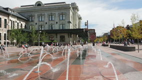 Urban plaza. Denver, Colorado, USA-August 31, 2014. Urban plaza at front of redeveloped historical Union Station in Denver, Colorado stock footage