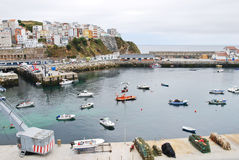 Urban port on Bay of Biscay in town Malpica Stock Images