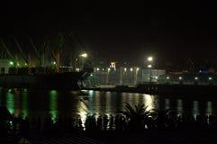 Urban port nocturne. Night view of Varna port lights,Bulgaria,Black sea coast Stock Photos
