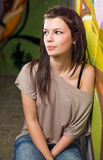 Urban portait of a beautiful young brunette. Royalty Free Stock Photography