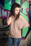 Urban portait of a beautiful young brunette Stock Photography