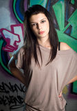 Urban portait of a beautiful young brunette Stock Image