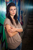 Urban portait of a beautiful young brunette Royalty Free Stock Photos