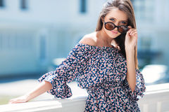 Urban portrait of a beautiful girl in summer Stock Image