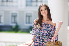 Urban portrait of a beautiful girl in summer Royalty Free Stock Photos