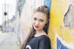 Urban portrait of beautiful young woman. Royalty Free Stock Photography