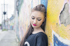 Urban portrait of beautiful young woman. Royalty Free Stock Images