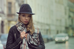 Urban portrait of stunning girl Royalty Free Stock Photo