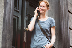 Urban Portrait of a Woman on the Phone Royalty Free Stock Photography