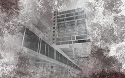 Urban poster. Sketch of a poster in the city blurred halftones Royalty Free Stock Image