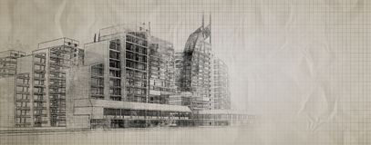 Urban poster. Sketch of a poster in the city blurred halftones Stock Image
