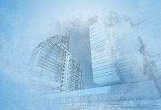 Urban poster. Sketch of a poster in the city blurred halftones Stock Photo
