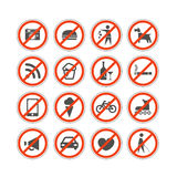 Urban prohibition signs collection Royalty Free Stock Images