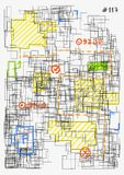Urban project sketch. Conceptual image of architectural grid. Modern colorful hand drawn vector illustration. House project sketch. Complex schematic abstract Stock Photos