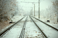 Urban Railroad at winter day Royalty Free Stock Images